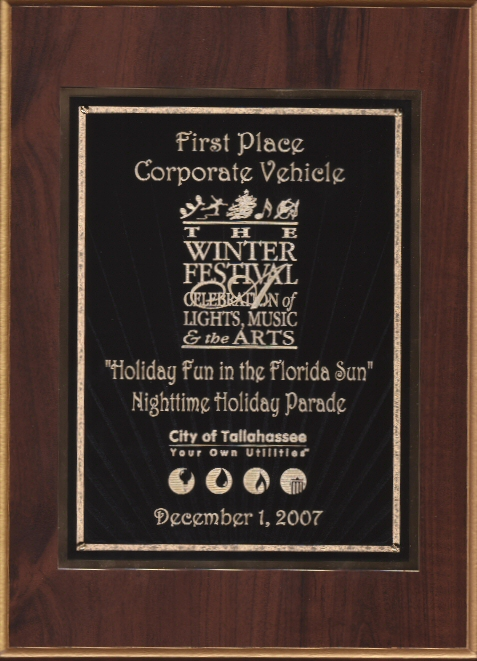 Washington Publishers - First Place Corporate Vehicle in Tallahassee Christmas Parade
